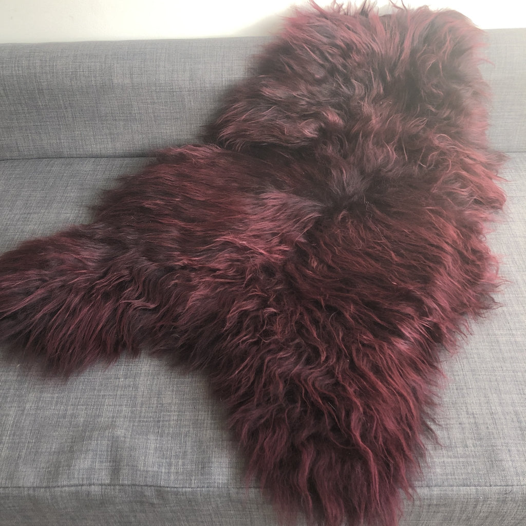 Icelandic Sheepskin Long Fur Rug Sheep Skin Throw Bordeaux ALL SIZES - Wildash London