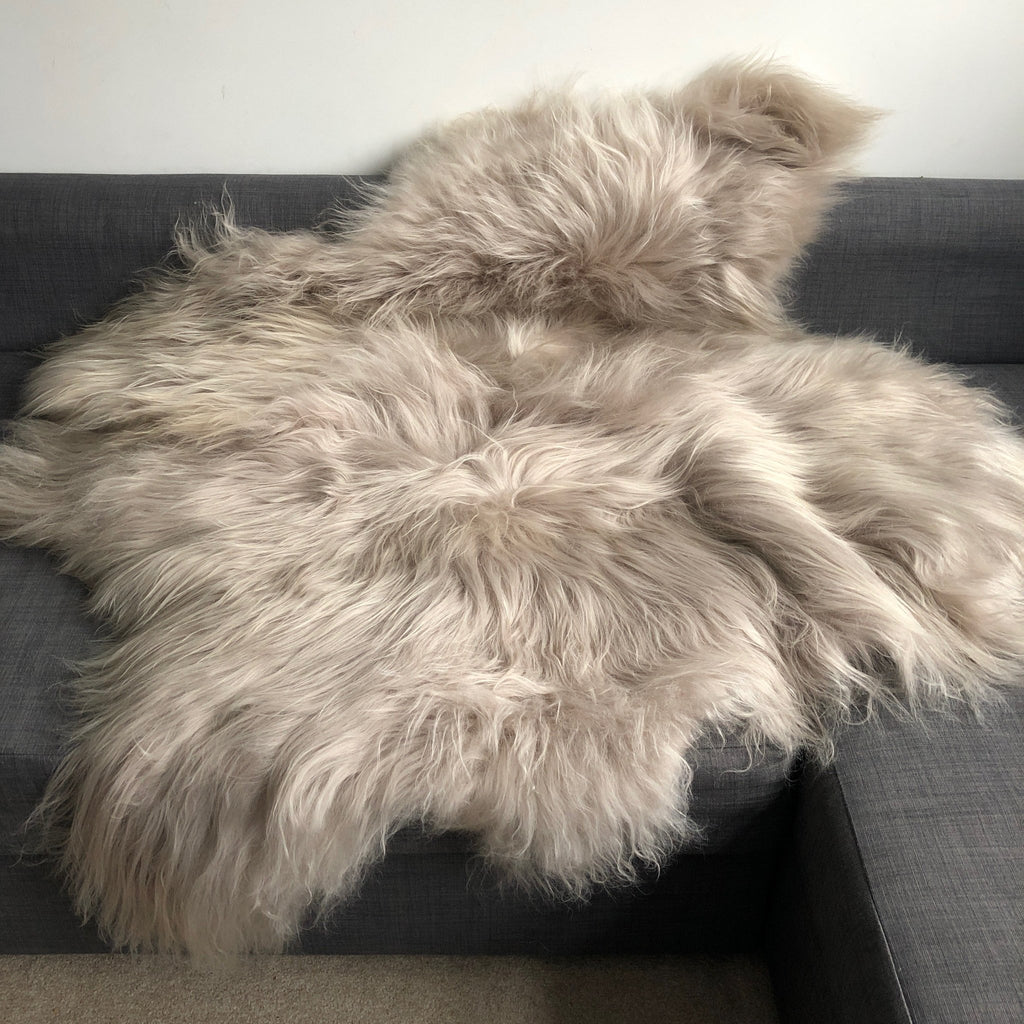 Icelandic Sheepskin Long Fur Rug Sheep Skin Throw Flax ALL SIZES - Wildash London