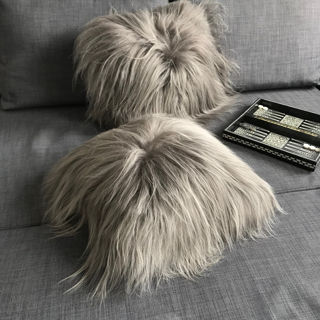 Icelandic Sheepskin Natural Long Warm Grey Cushion Square 45cm - Wildash London