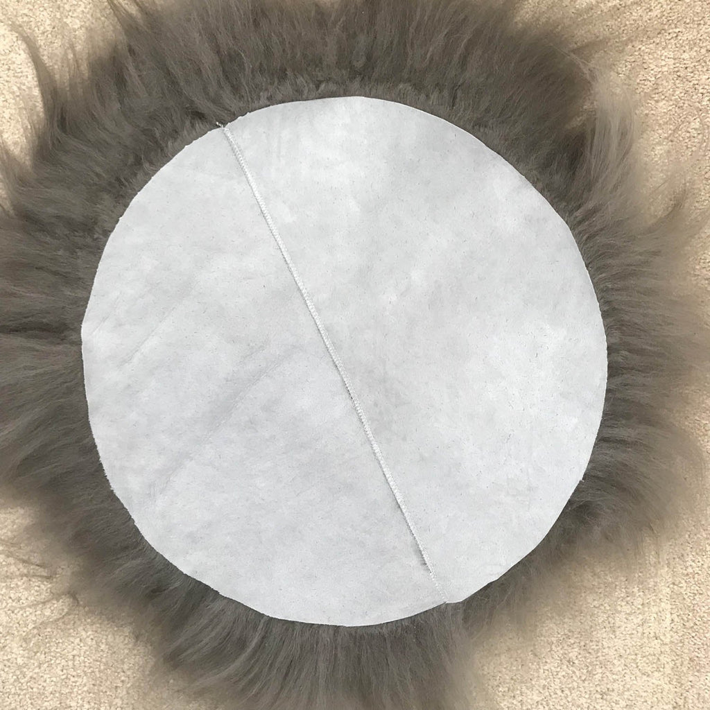 Icelandic Sheepskin Roundie Seat Cover Cool Grey Long 35cm - Wildash London