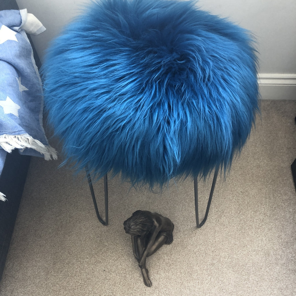 Icelandic Sheepskin Roundie Seat Cover Turquoise Blue Long 35cm - Wildash London