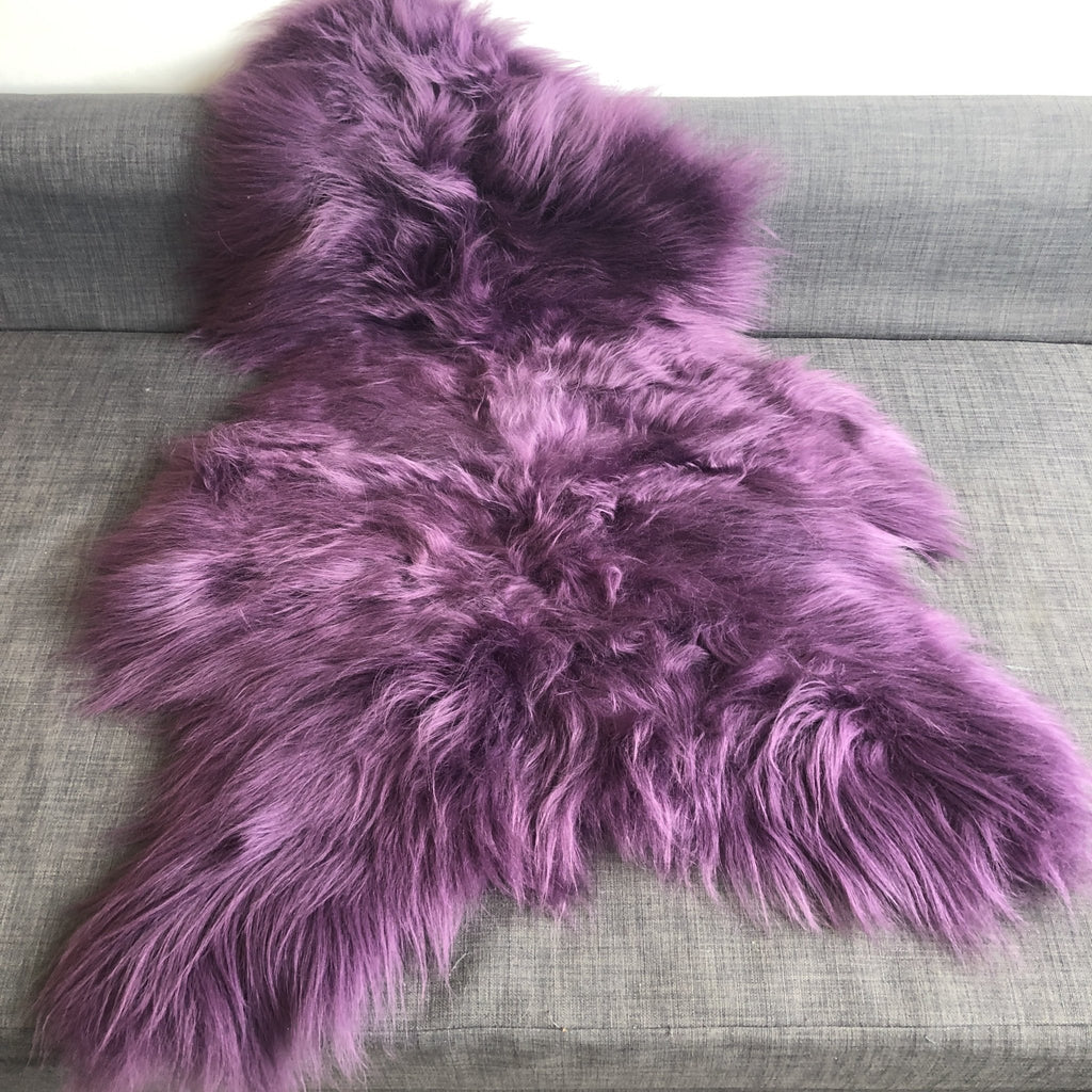 Icelandic Sheepskin Rug Violet Purple Long Fur Throw - Wildash London