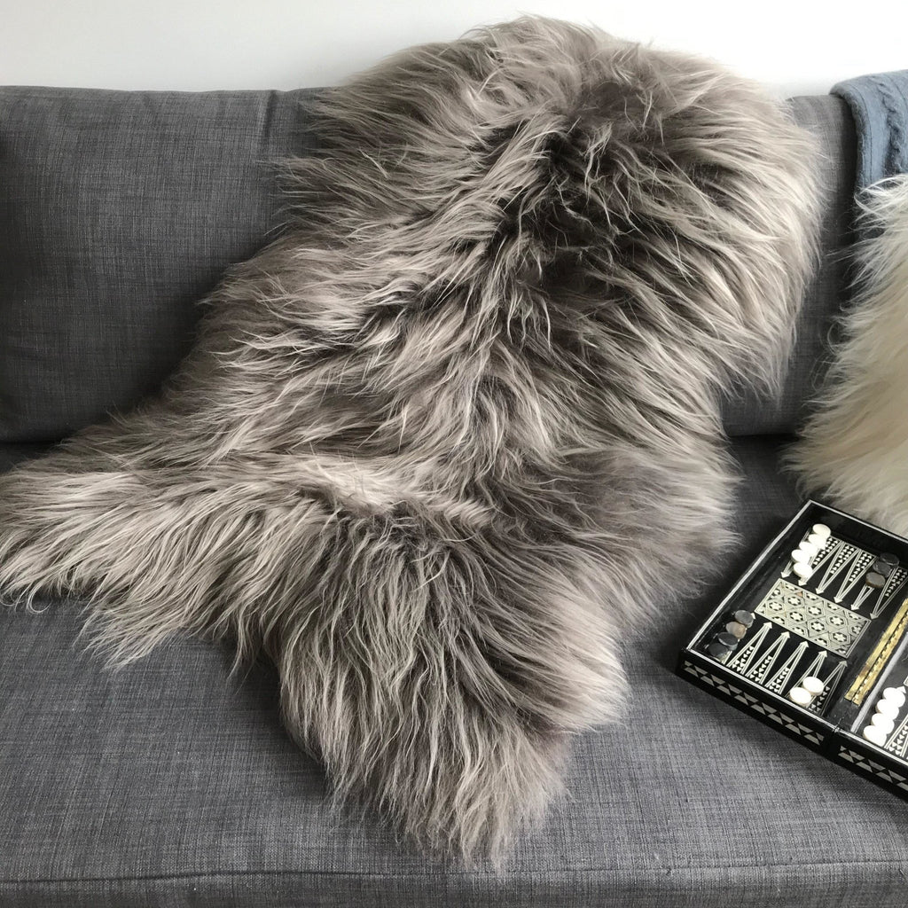 Icelandic Sheepskin Rug Warm Grey Sheep Skin Throw XXL - Wildash London