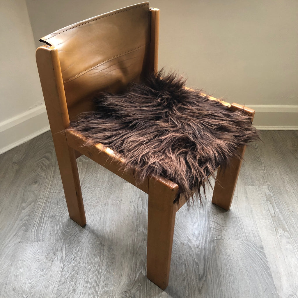 Icelandic Sheepskin Square Seat Cover 37cm Chestnut Brown - Wildash London