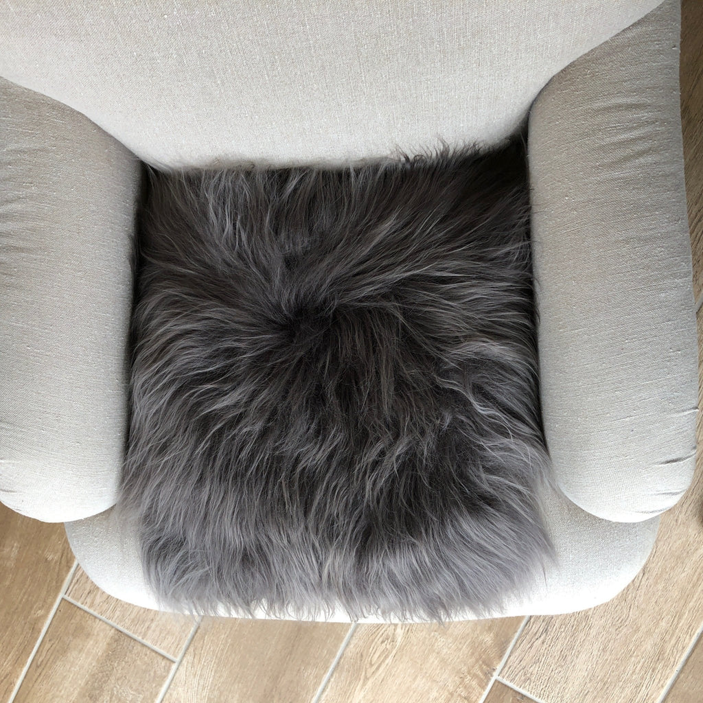 Icelandic Sheepskin Square Seat Cover 37cm Cool Grey - Wildash London
