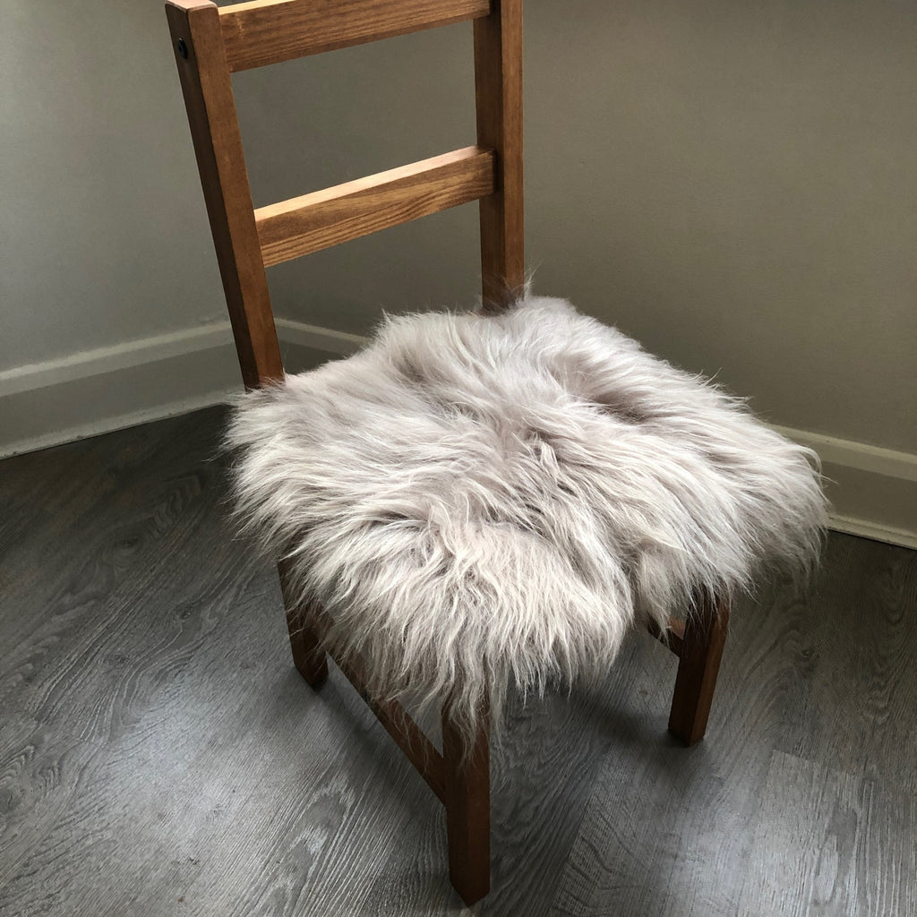 Icelandic Sheepskin Square Seat Cover 37cm Dove Grey - Wildash London