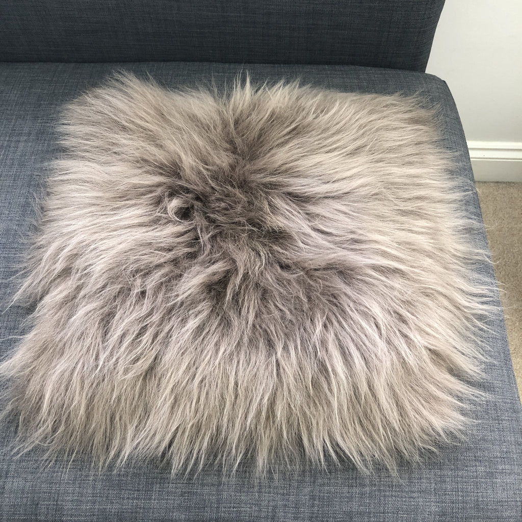 Icelandic Sheepskin Square Seat Cover 37cm Taupe - Wildash London