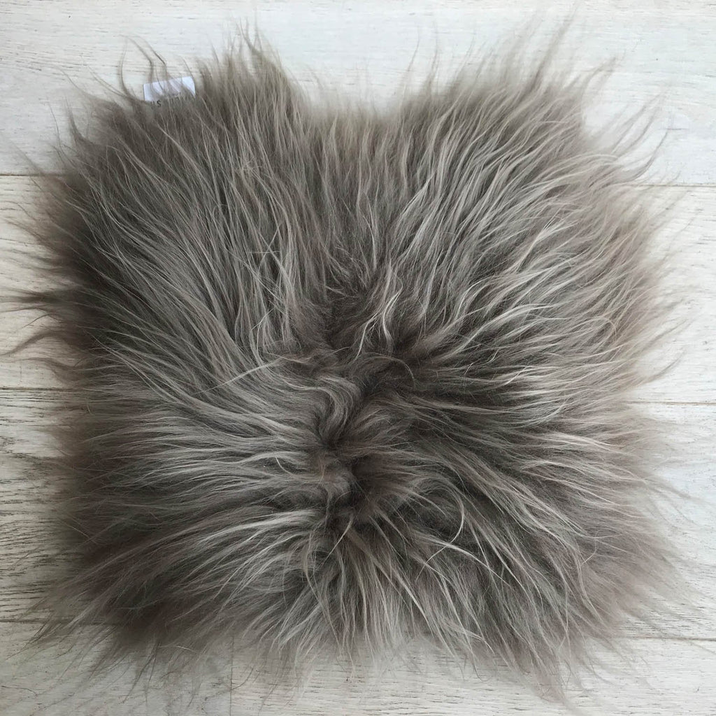 Icelandic Sheepskin Square Seat Cover 37cm Warm Grey - Wildash London