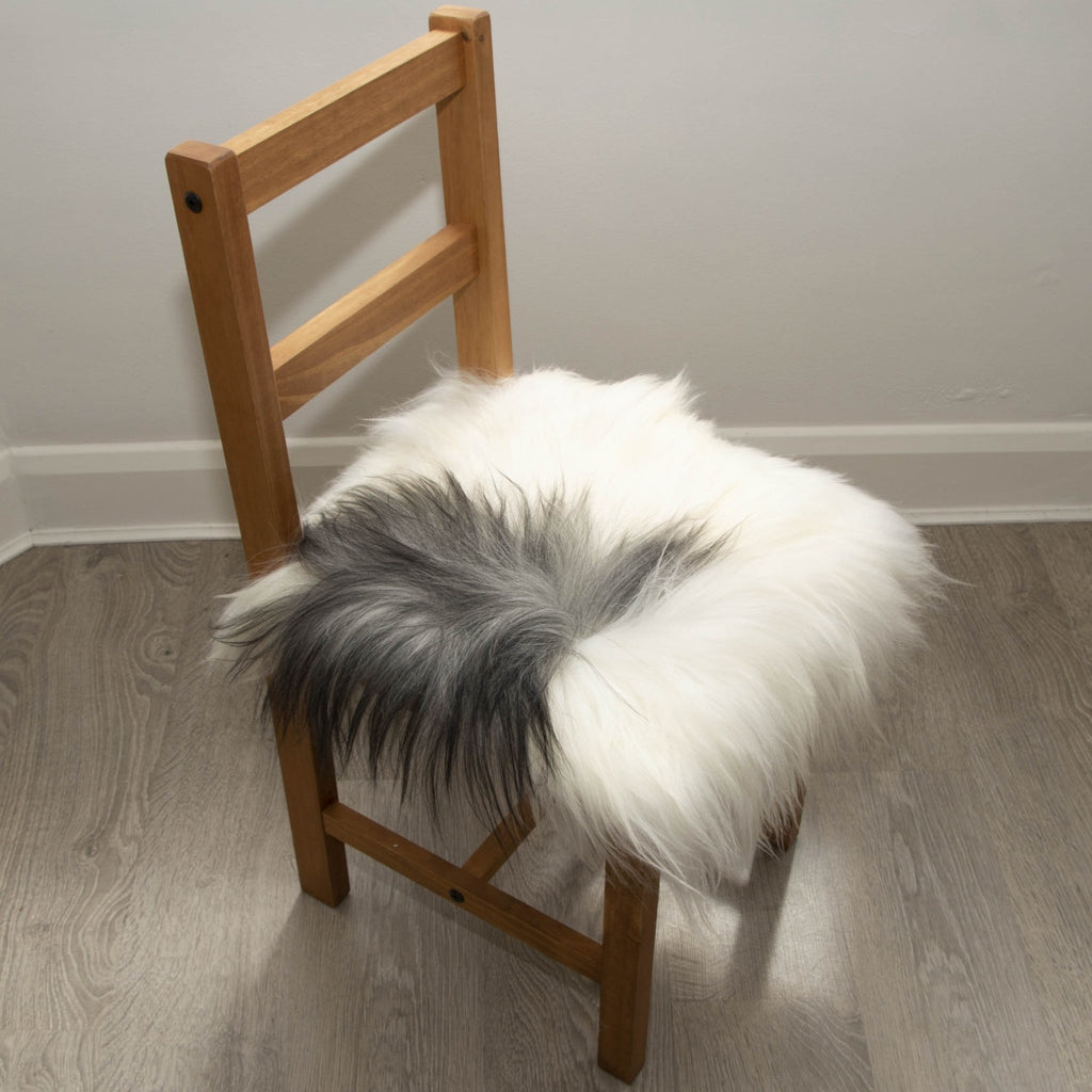 Icelandic Sheepskin Square Seat Cover 37cm White & Natural Grey - Wildash London