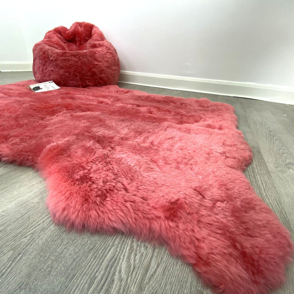 Icelandic Shorn 50mm Sheepskin Rug Coral Pink Sheep Skin Throw ALL SIZES Natural Edge - Wildash London