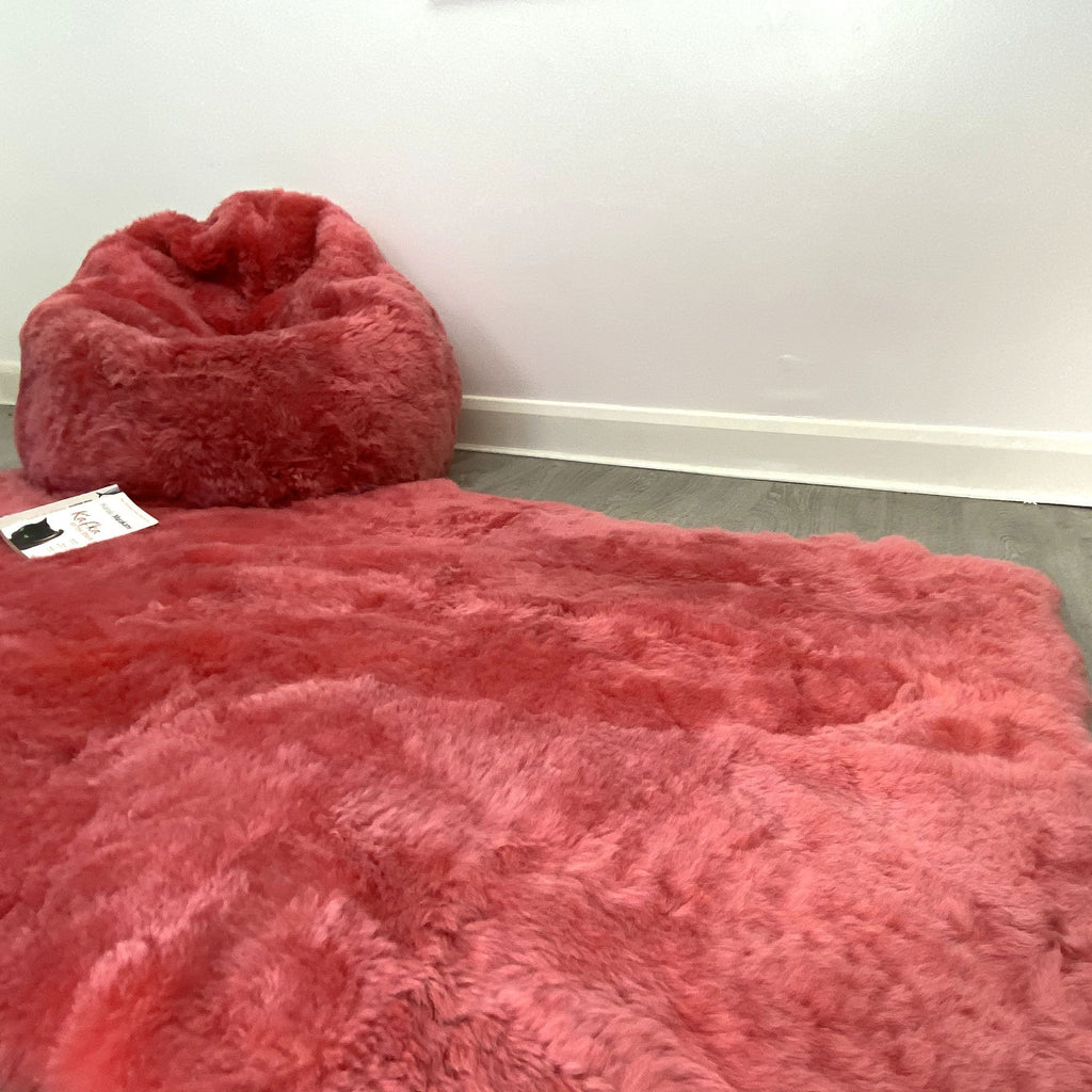 Icelandic Shorn Sheepskin Beanbag & Throw Set - Coral Pink Natural Edges Rectangular Stunning Soft Rug and Bean bag - Wildash London