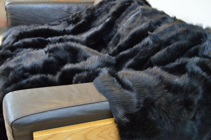 Ink Black Shearling Throw 230cm x 190cm - Wildash London