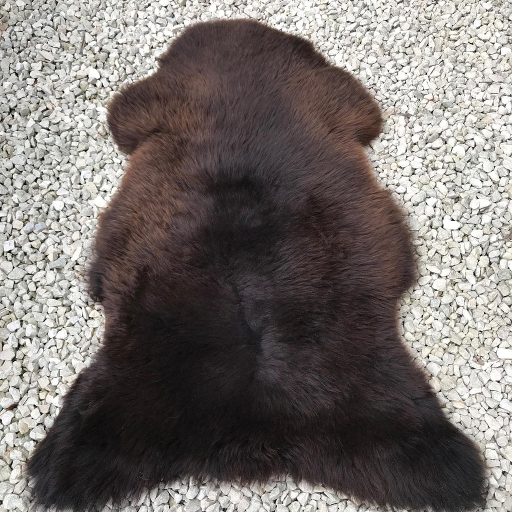 Large Natural Sheepskin Rug Chocolate Brown 108cm 0104 - Wildash London