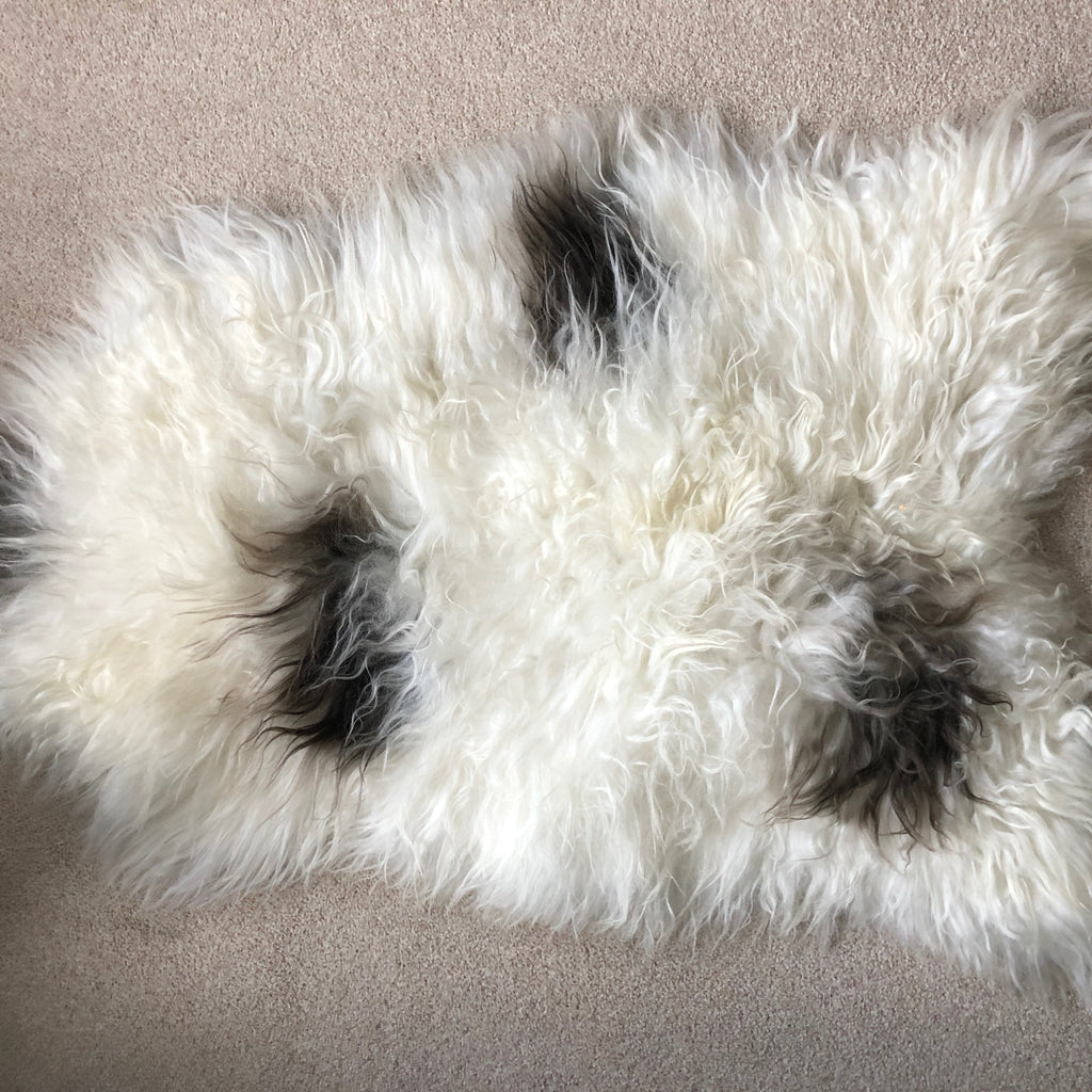 Large Spotted Icelandic Sheepskin Throw White with Black Spot Sheep Skin Rug Eco Fleece 100% Natural Undyed Hygge UN-2011 - Wildash London