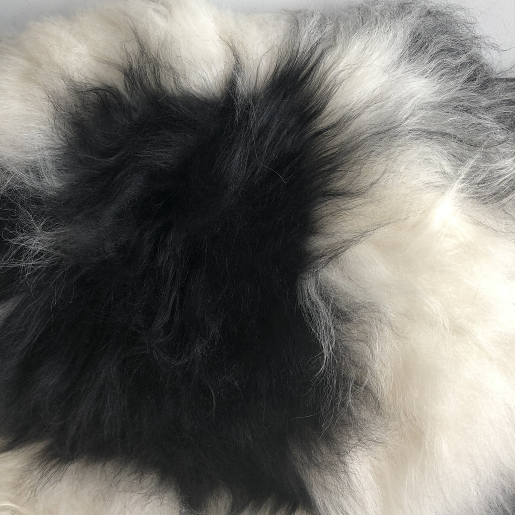 Large Spotted Yin & Yang Icelandic Sheepskin Throw White with Black Spot Sheep Skin Rug Eco Fleece 100% Natural Undyed Hygge UN-2009 - Wildash London