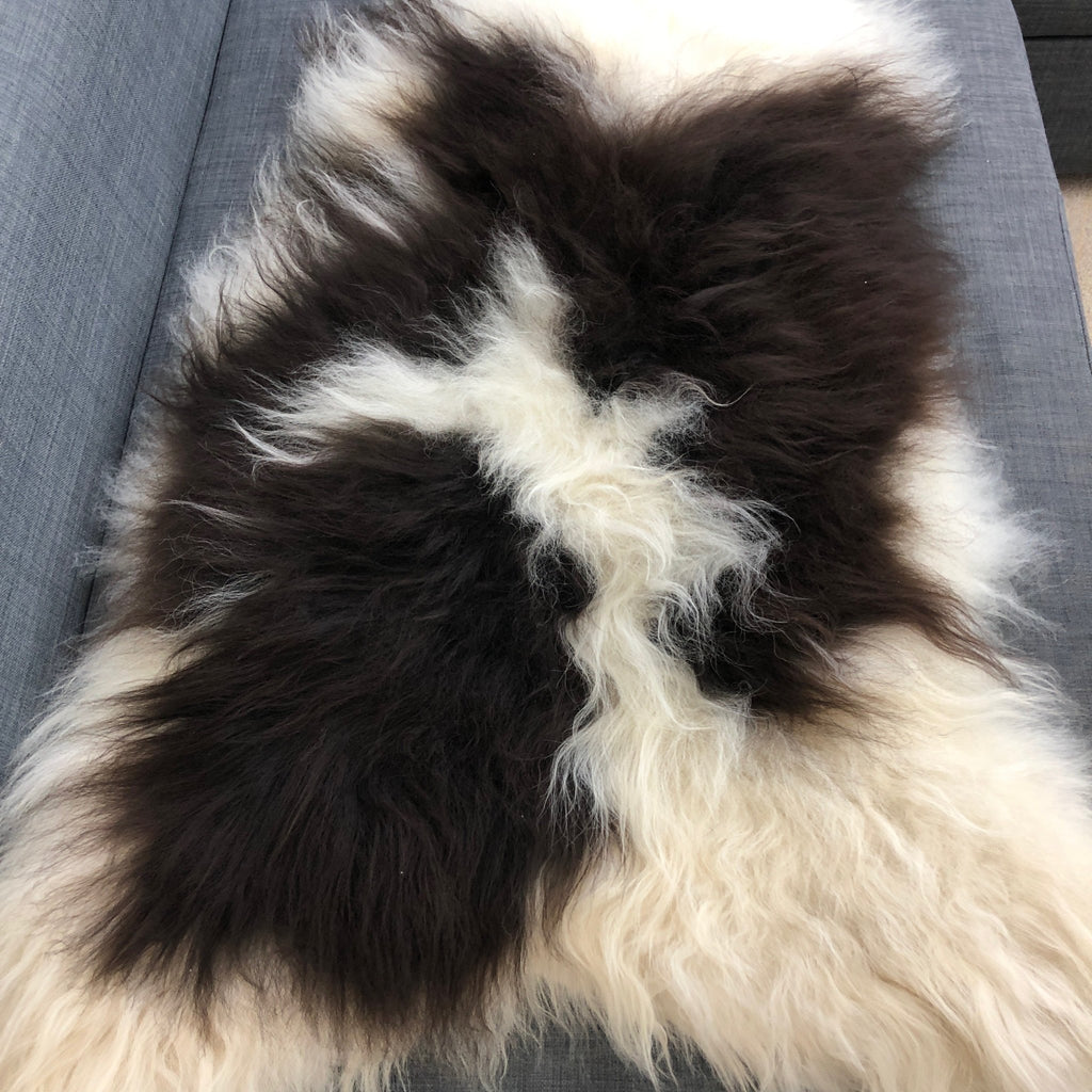 Large Spotted Yin & Yang Icelandic Sheepskin Throw White with Black Spot Sheep Skin Rug Eco Fleece 100% Natural Undyed Hygge UN-2013 - Wildash London