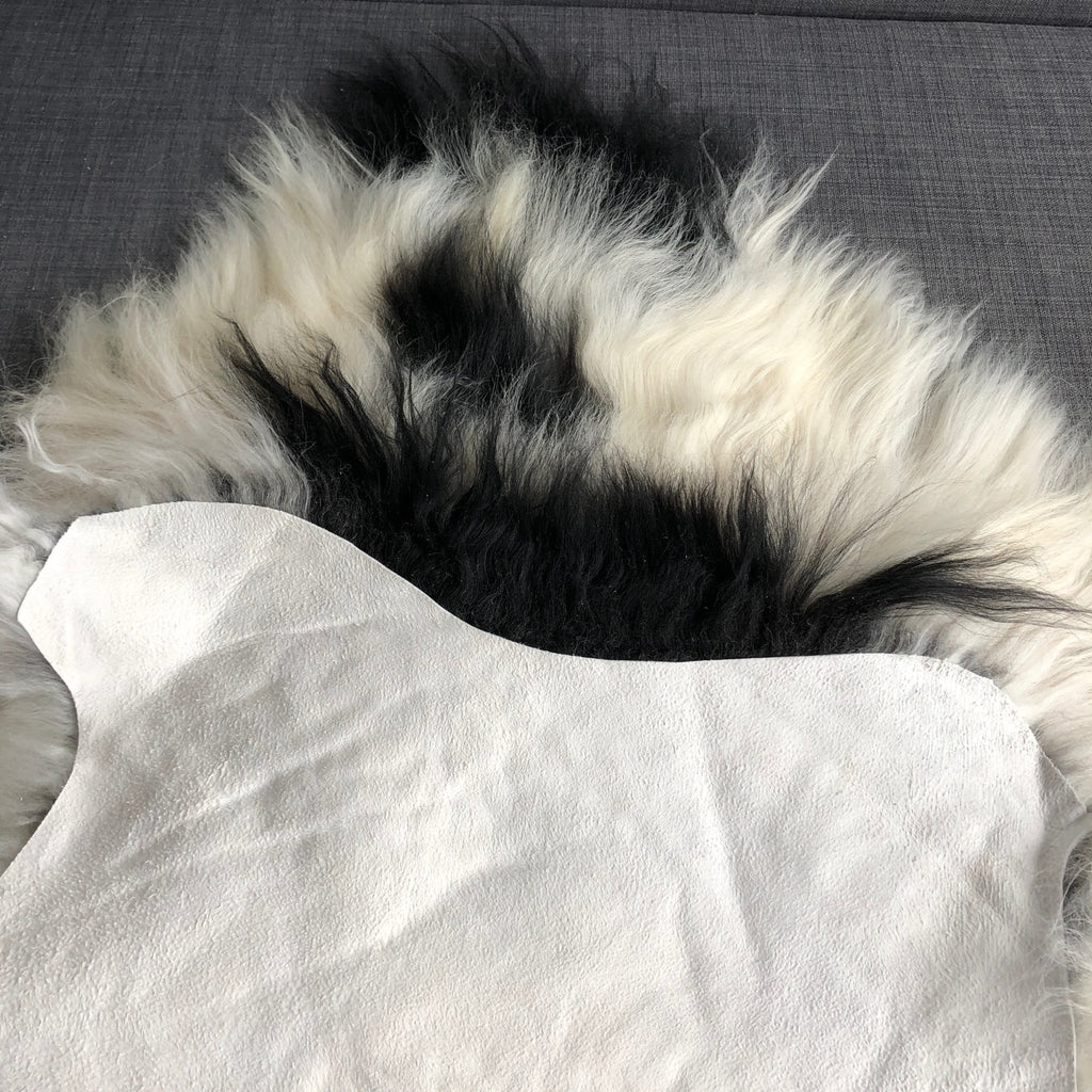 Large Spotted Yin & Yang Icelandic Sheepskin Throw White with Black Spots Sheep Skin Rug Eco Fleece 100% Natural Undyed Hygge UN-2006 - Wildash London