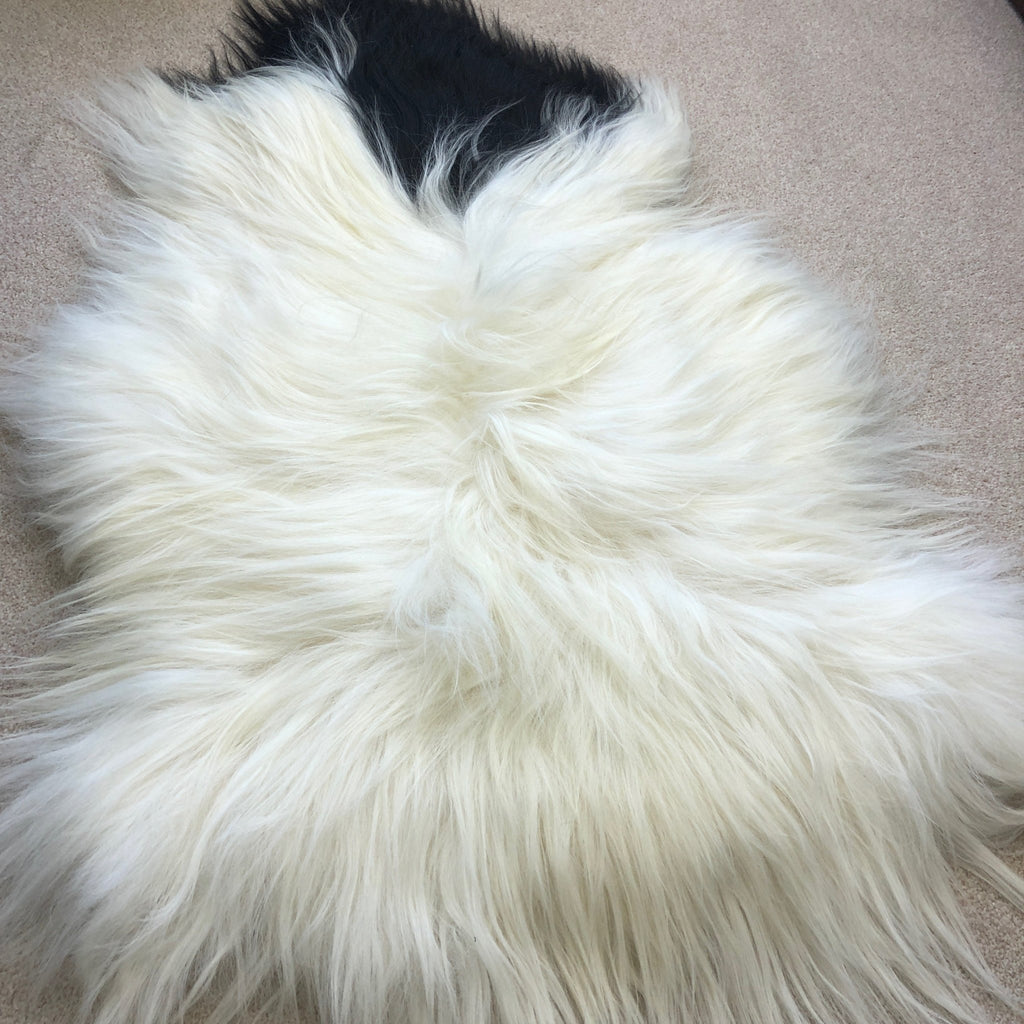 Large Spotted Yin & Yang Icelandic Sheepskin Throw White with Black Spotted Sheep Skin Rug Eco Fleece 100% Natural Undyed Hygge UN-2005 - Wildash London