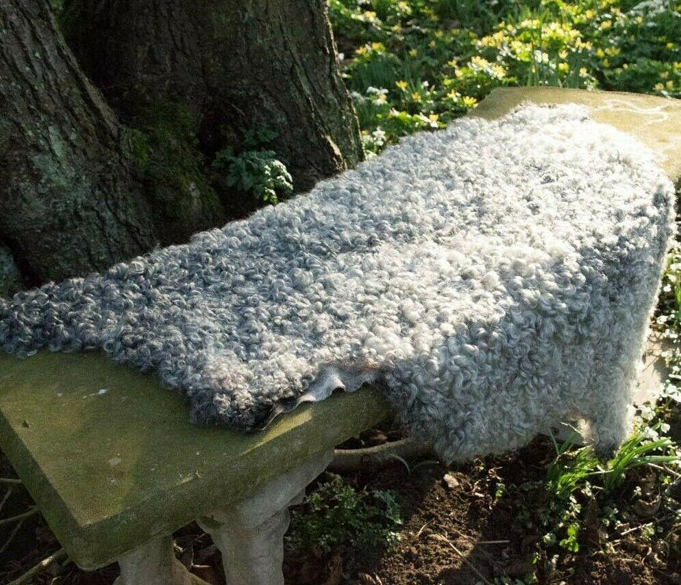 Large Top Quality Gotland Rare Breed 100% Natural Curly Sheepskin Grey - Wildash London