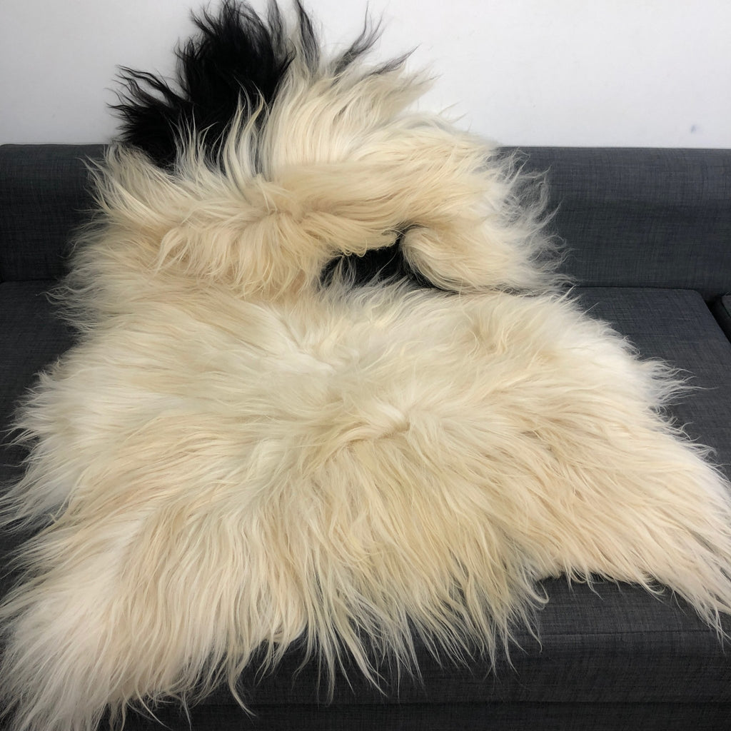 Large Yin & Yang Icelandic Sheepskin Throw White with Black Spots Rug Eco Fleece 100% Natural Undyed Hygge 0216ILXL01 - Wildash London
