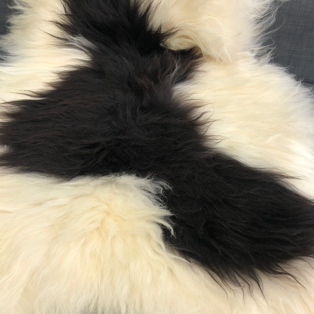 Large Yin & Yang Icelandic Sheepskin Throw White with Black Spots Rug Eco Fleece 100% Natural Undyed Hygge 0216ILXL03 - Wildash London