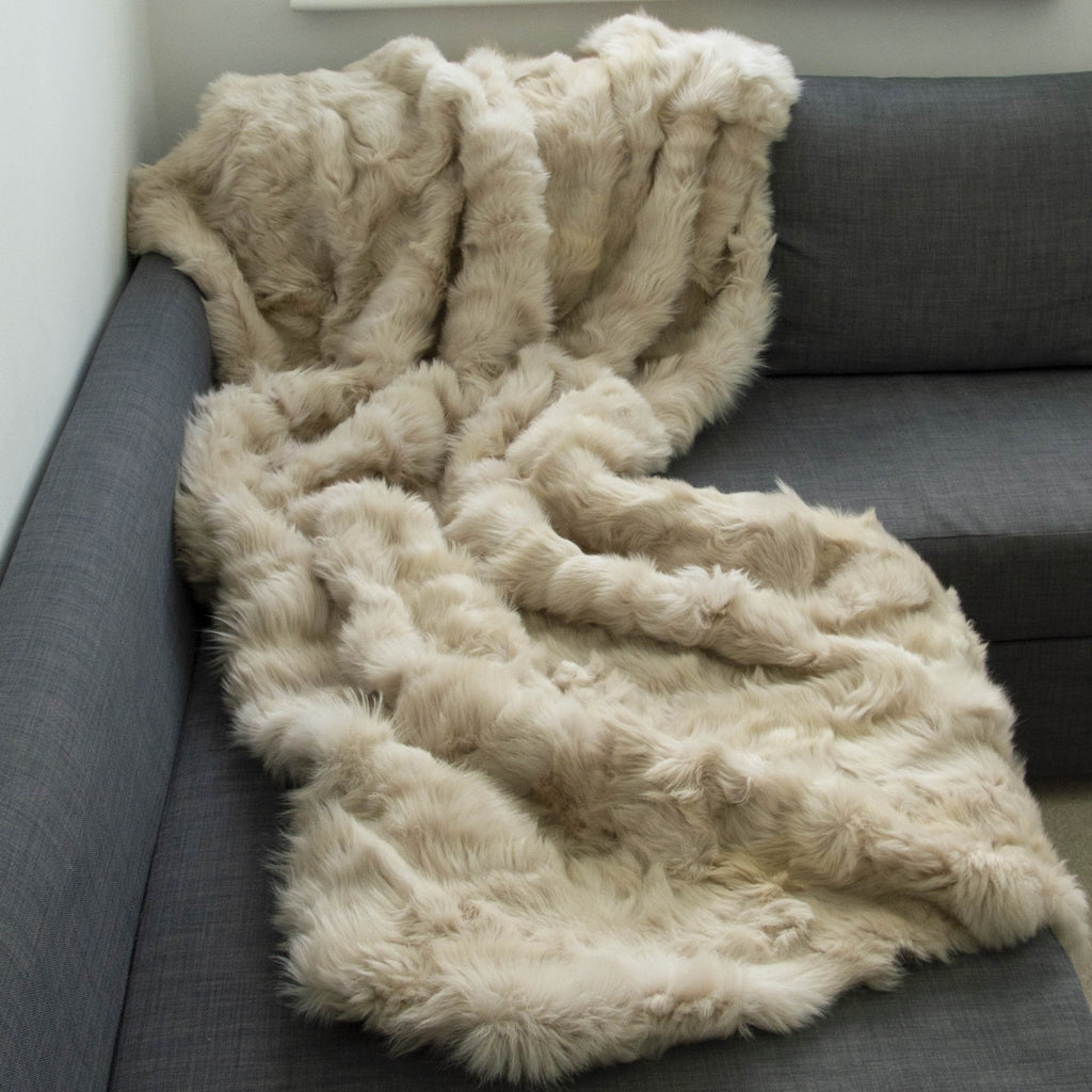 Light Honey Gold Shearling Throw | Shearling Rug - Wildash London