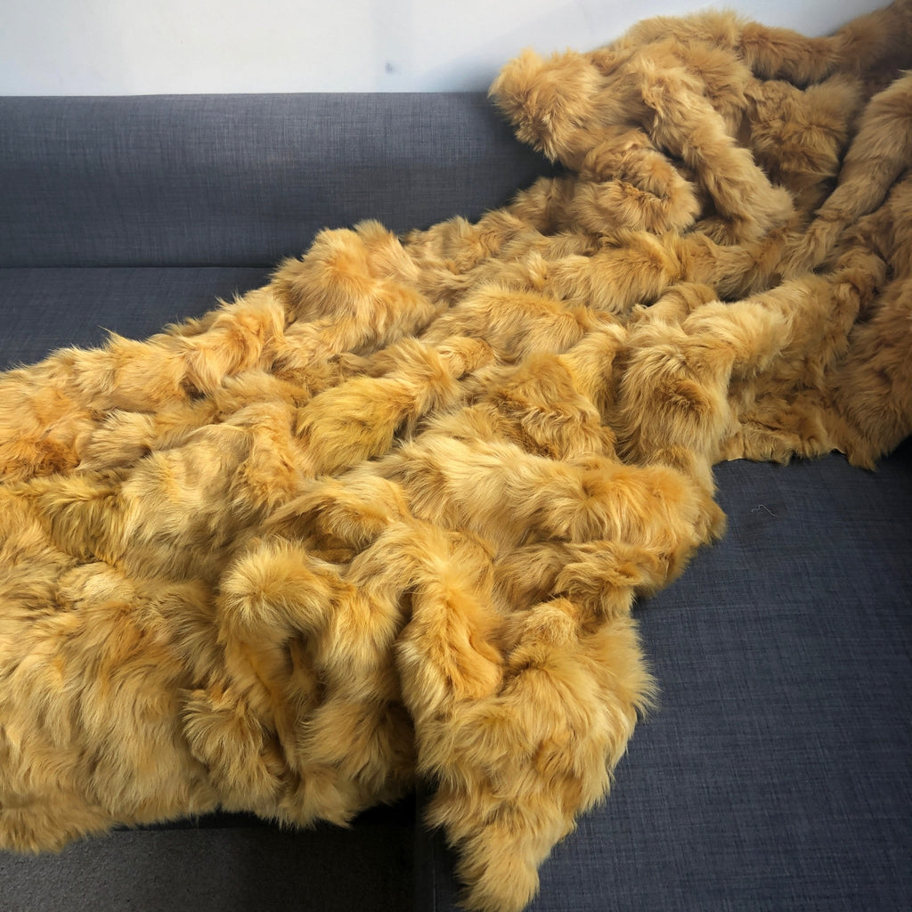 Marigold Yellow Toscana Shearling Throw | Rug | Wildash London - Wildash London