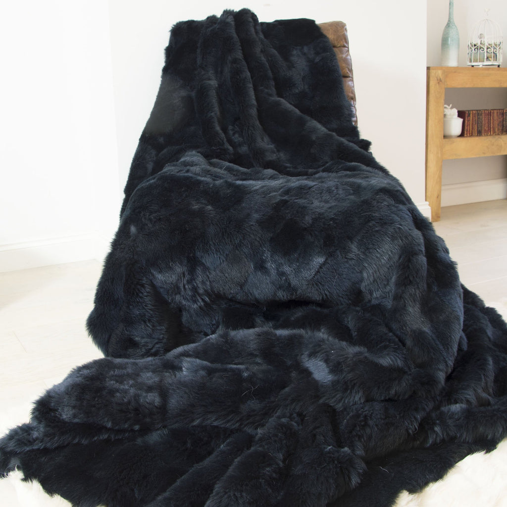 Midnight Blue Shorn Tuscan Shearling Throw | Shearling Rug - Wildash London