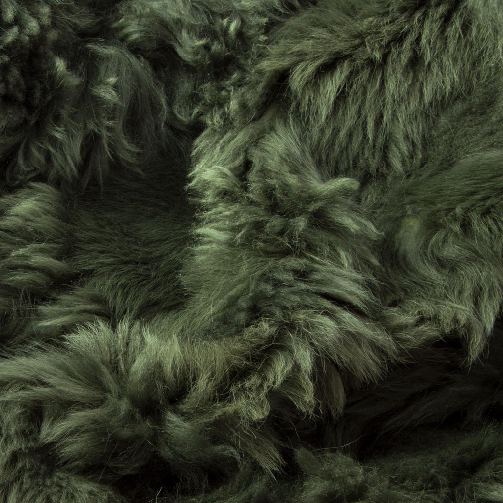 Moss Green Sheepskin Throw 60cm x 120cm - Wildash London