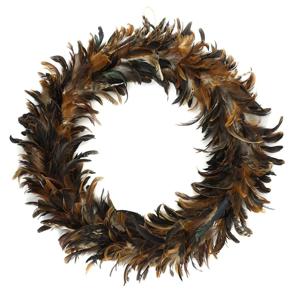 Natural Schlappen Feather Wreath Large 60cm - Wildash London