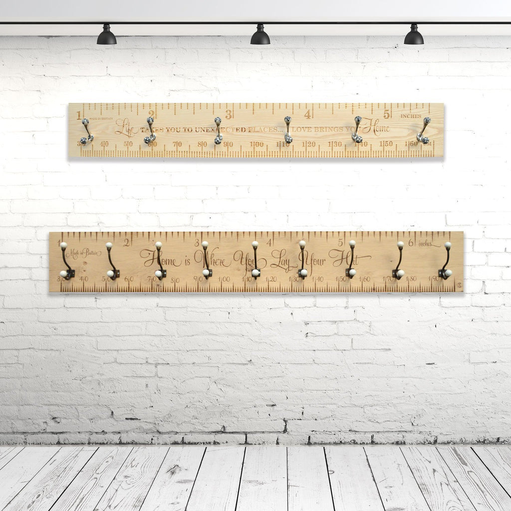 Personalised 180cm Solid Hardwood Traditional Ruler Coat Rack - Wildash London