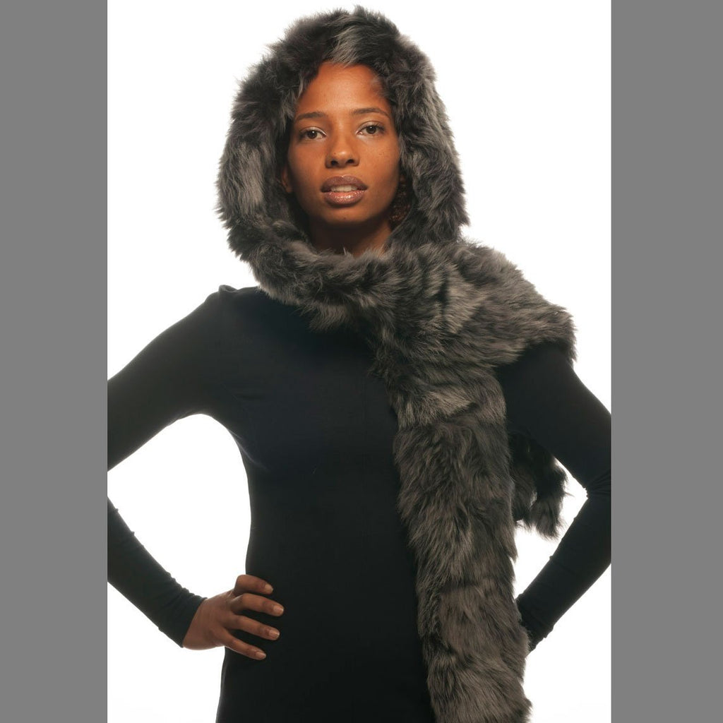 Poppy Toscana Shearling Hooded Scarf - Wildash London