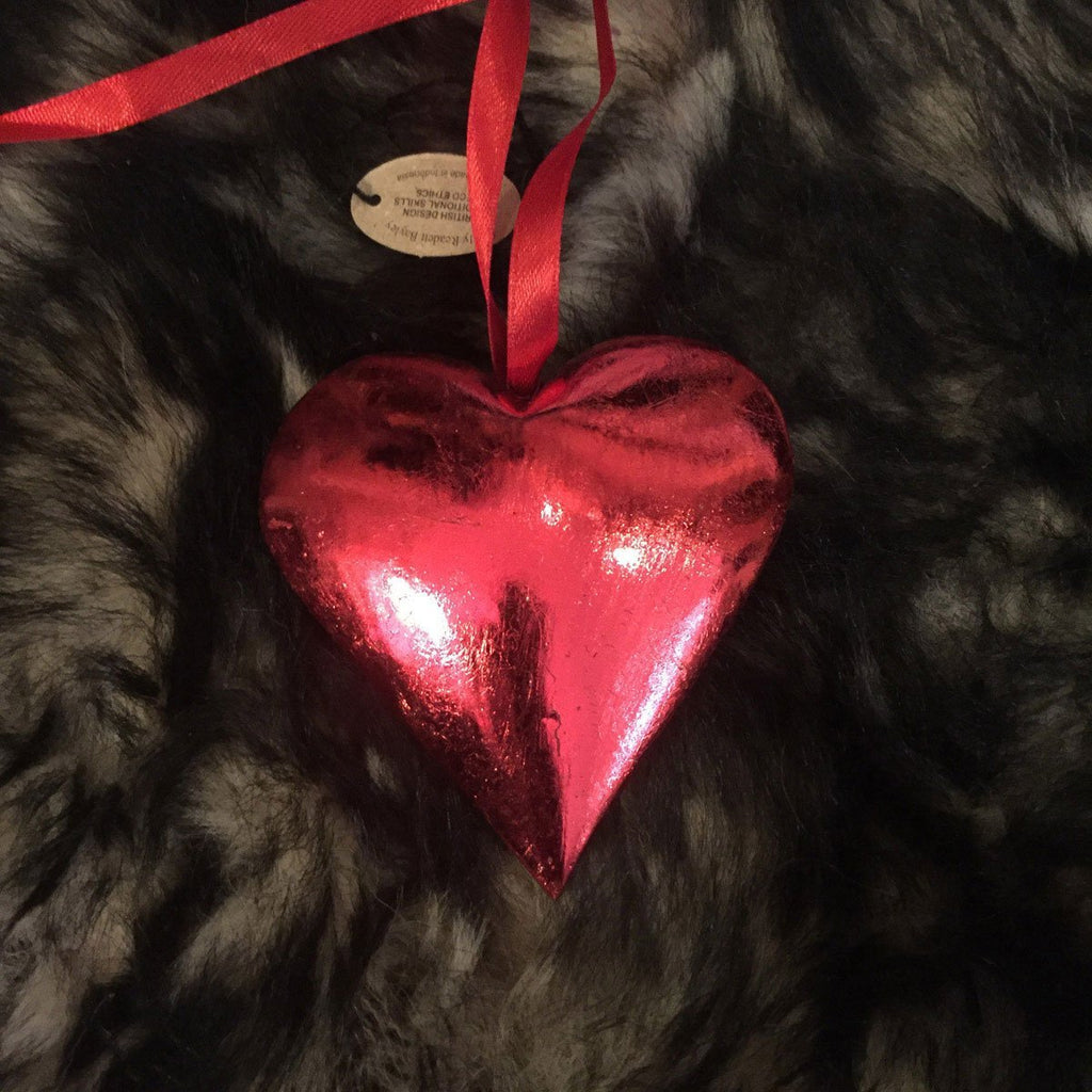 Red Wooden Heart on Ribbon 8cm - Wildash London