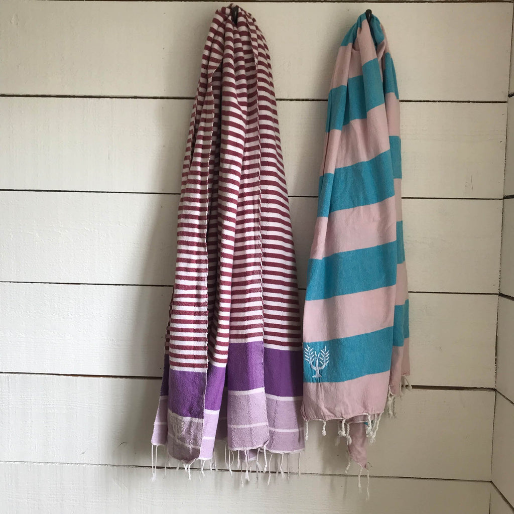 Riviera Hammam Towel Pink/Aqua Multi - Wildash London
