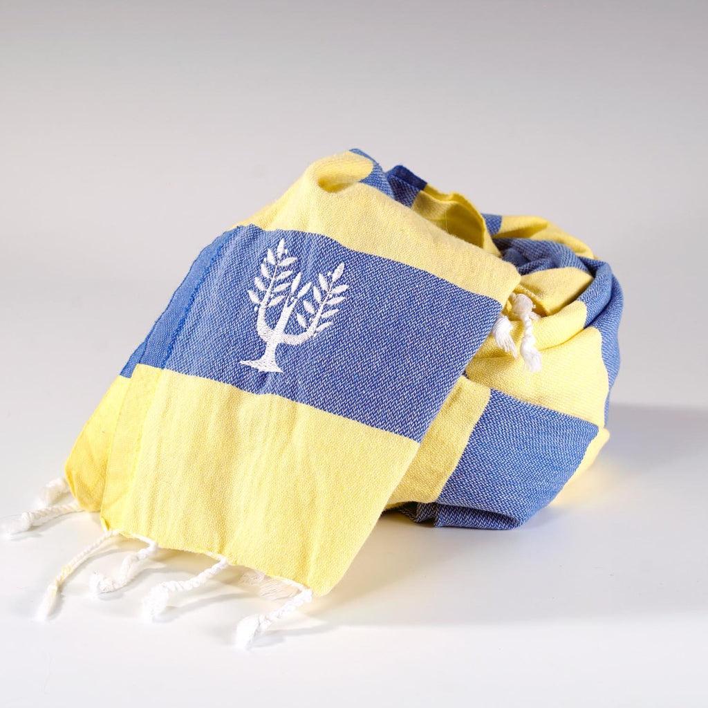 Riviera Hammam Towel Royal Blue Bright Yellow - Wildash London