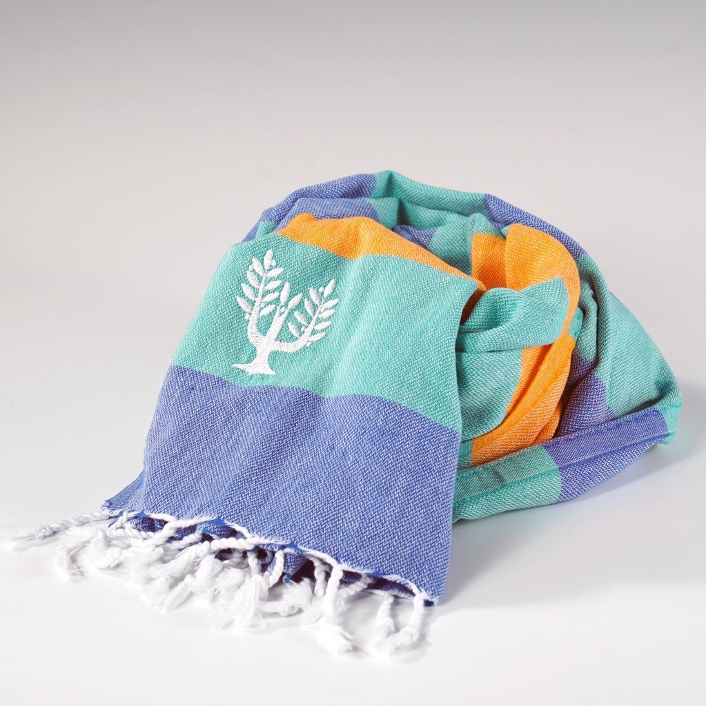 Riviera Hammam Towel Royal Blue/Green/Orange Multi - Wildash London