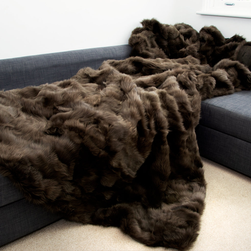 Robusta Coffee Tuscan Shearling Throw | Rug | 240cm x 260cm - Wildash London