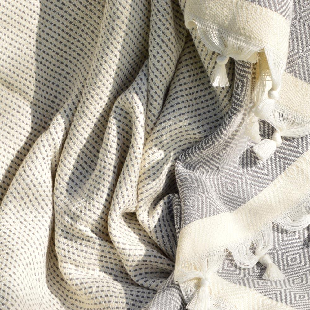 Seray XL Cotton Throw Pewter - Wildash London