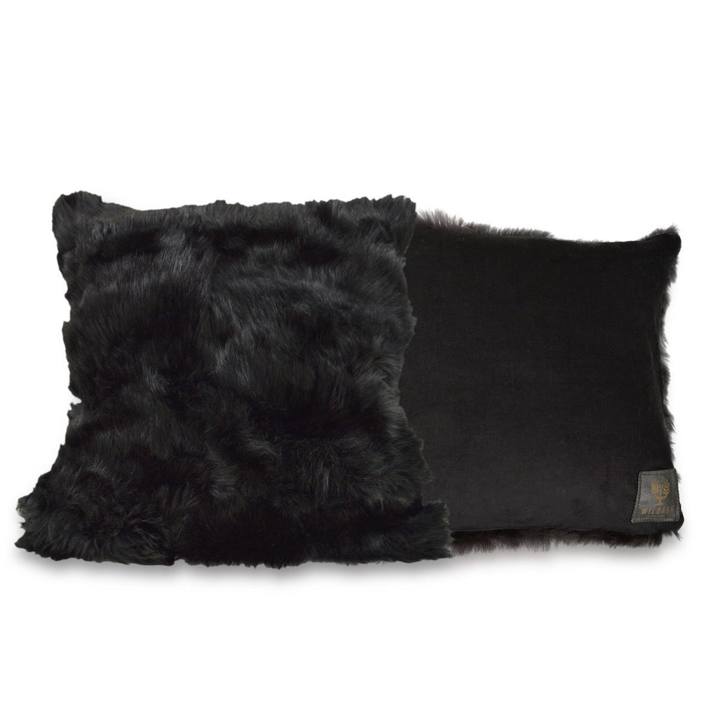 Shearling Cushion Square 45cm Black & Black Baby Cord - Wildash London