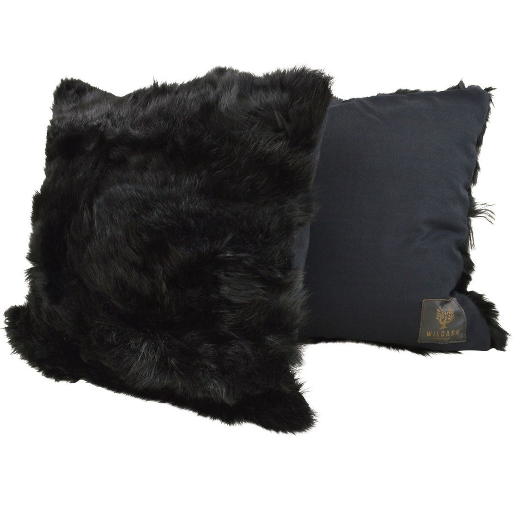 Shearling Cushion Square 45cm Black & Black Merino Wool - Wildash London