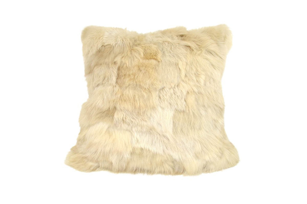 Shearling Cushion Square 45cm Clotted Cream & Highland Light Tartan Merino Wool - Wildash London