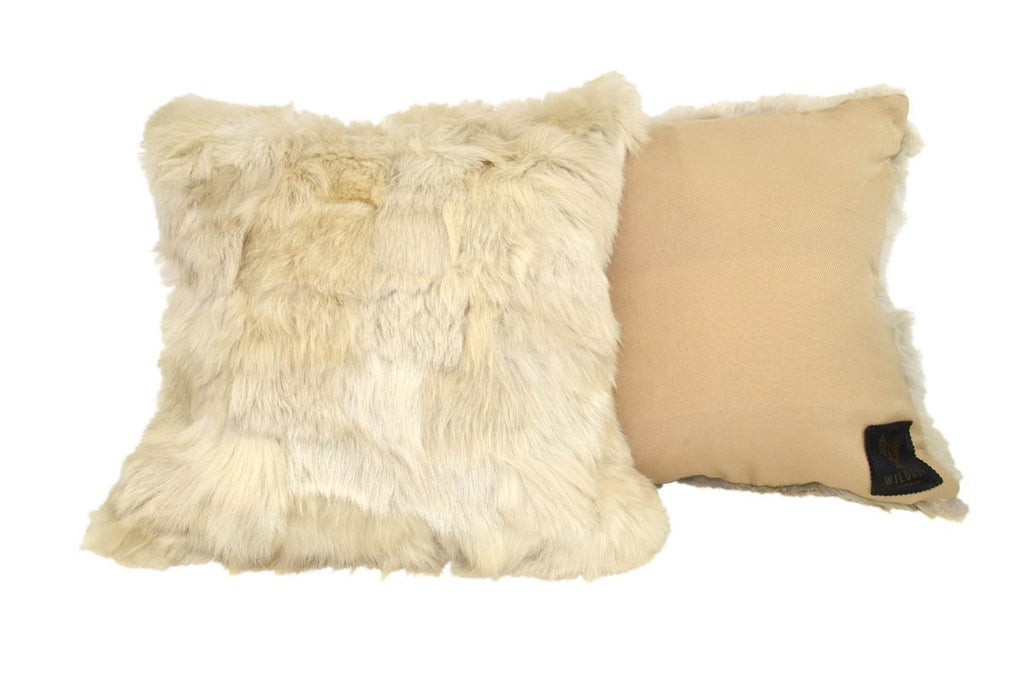 Shearling Cushion Square 45cm Clotted Cream & Sandstone Merino Wool - Wildash London
