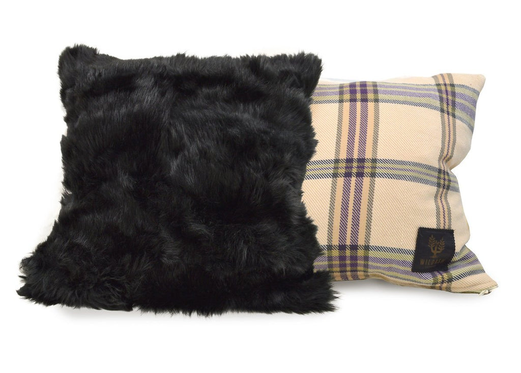 Shearling Cushion Square 45cm Ink Black & Signature Wildash Tartan Day Merino - Wildash London