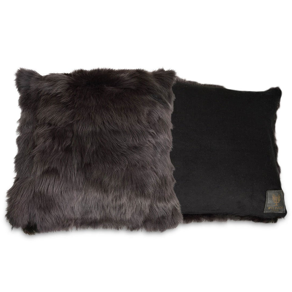 Shearling Cushion Square 45cm Raven Grey & Black Baby Cord - Wildash London