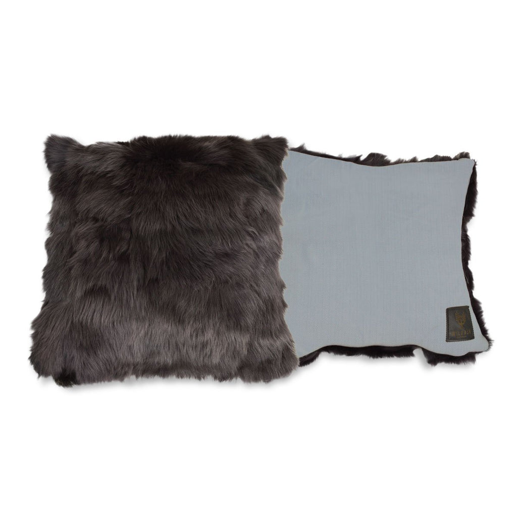 Shearling Cushion Square 45cm Raven Grey & Slate Merino Wool - Wildash London