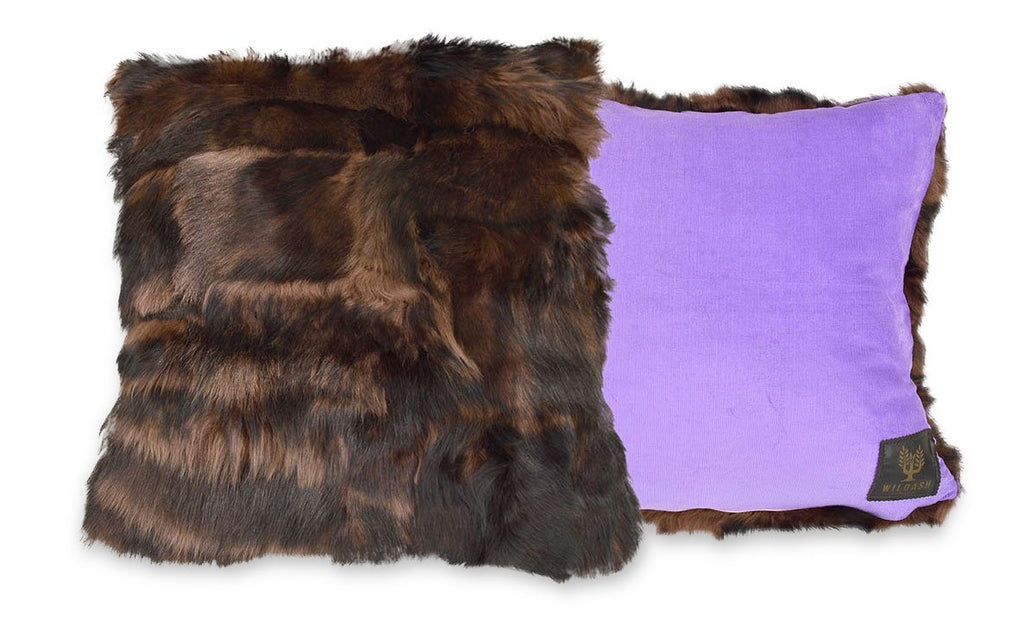 Shearling Cushion Square 45cm Rich Brown & Lavender Baby Cord - Wildash London