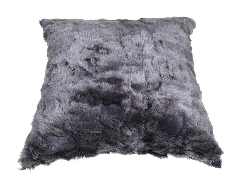 Shearling Floor Cushion Square 96cm Raven Grey & Slate Merino - Wildash London