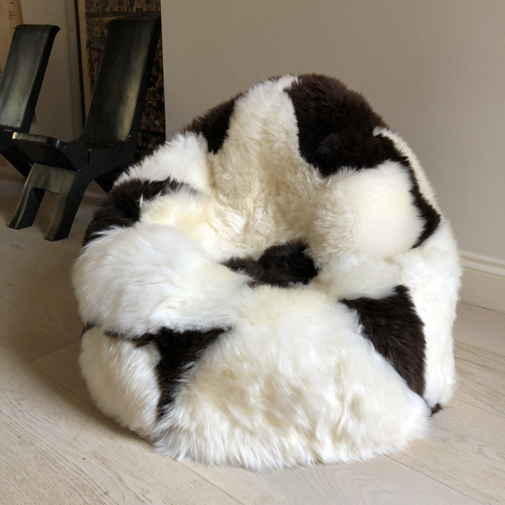 Sheepskin Beanbag Chair 100% Natural British White & Brown Spotted Bean Bag - Wildash London