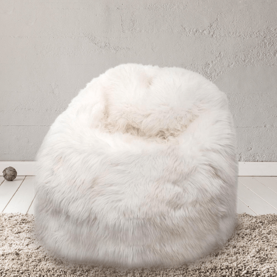 Sheepskin Beanbag Chair 100% Natural British White Soft Fleece Bean Bag - Wildash London