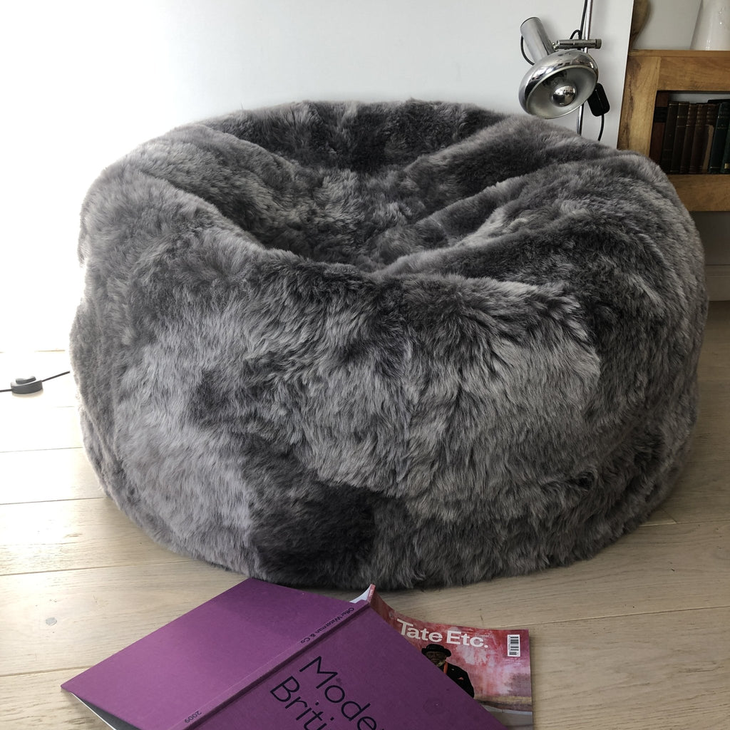 Sheepskin Beanbag Chair 100% Natural Icelandic Shorn Sheepskin Cool Grey Bean Bag - The Pillbox - Wildash London